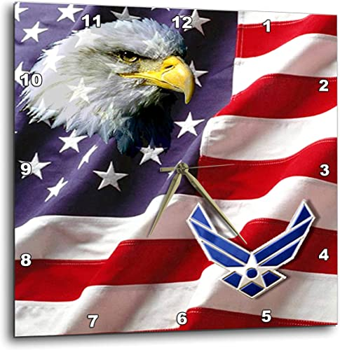 3dRose DPP_965_3 USAF Airforce-Wall Clock, 15-inch, Multicolor