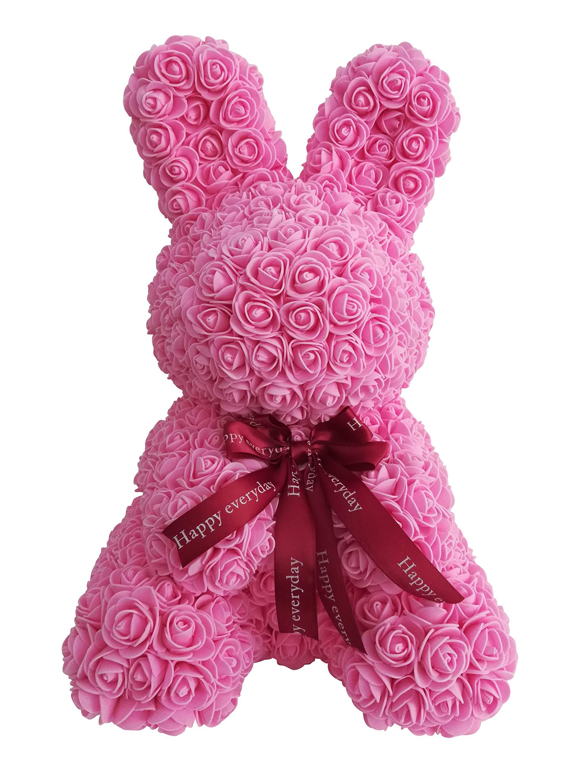 silk flower arrangements tigerlee 45cm rabbit rose artificial rose forever rose everlasting flower for window display, anniversary christmas valentines easter gift by longshow (pink)