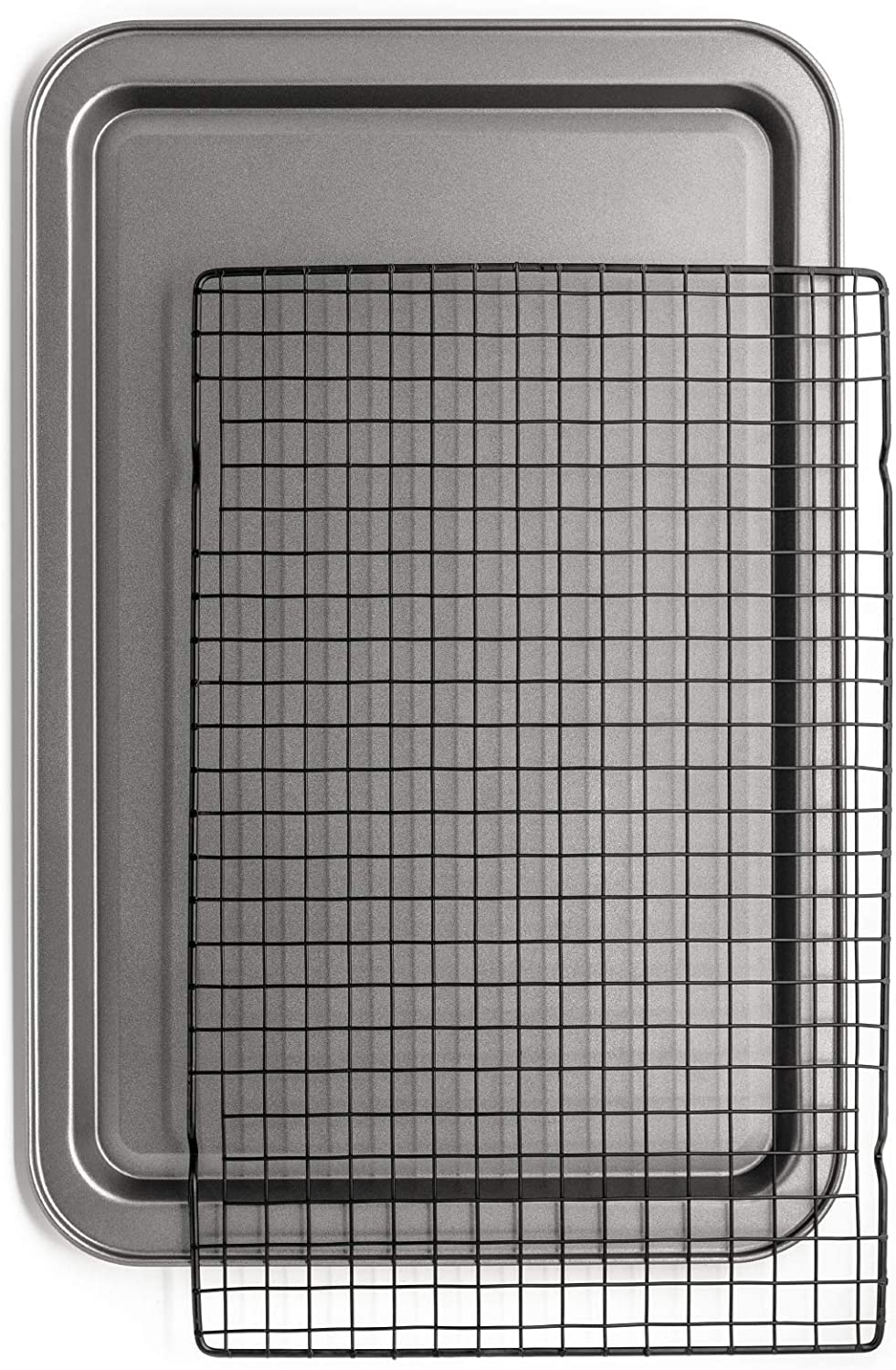 Chef Pomodoro Non-Stick Baking Sheet and Cooling Rack Set , 2-Piece, Carbon Steel Cookie Sheet, Bacon Rack, Oven Safe (18.5 x 12.2