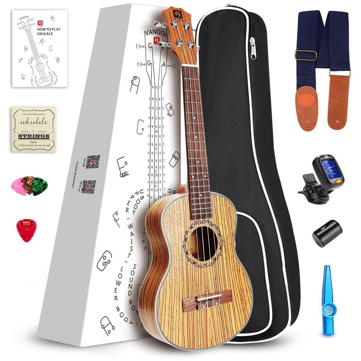 Vangoa Soprano Ukulele Zebra Wood UK-21Z 21 inch Acoustic Ukulele Beginner Bundle with Picks, Nylon Strap, Pick Container, Tuner, Kazoo, Extra Strings, Finger Shaker and Gig Bag