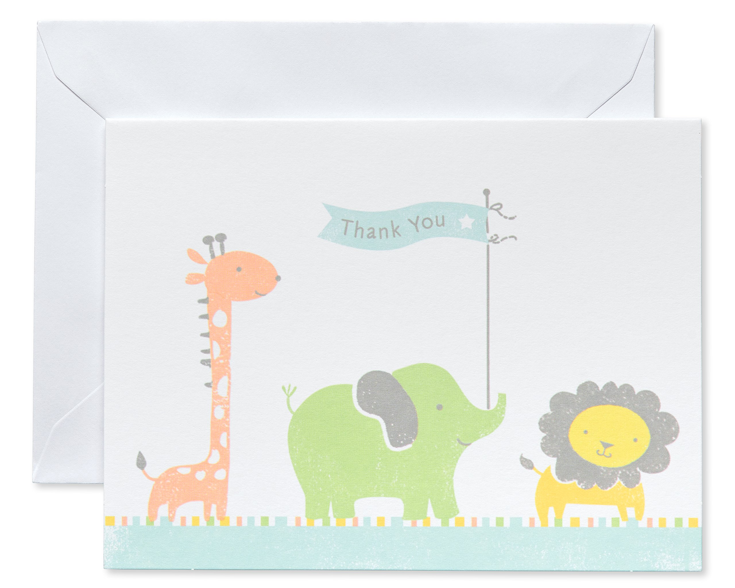 American Greetings Giraffe, Elephant and Lion Baby Thank-You Cards and White Envelopes, 50-Count by American Greetings