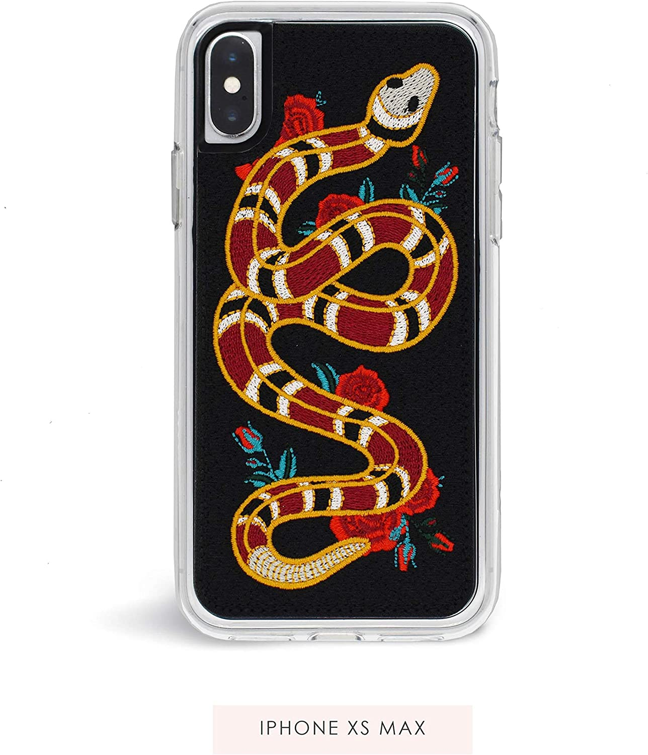 Zero Gravity Compatible with iPhone Xs Max Strike Phone Case - Embroidered Snake and Rose Design - 360° Protection, Drop Test Approved