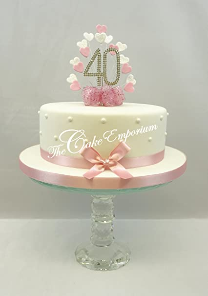 Remarkable Cake Topper Heart Burst Spray Diamante 40Th Birthday Baby Pink Funny Birthday Cards Online Alyptdamsfinfo