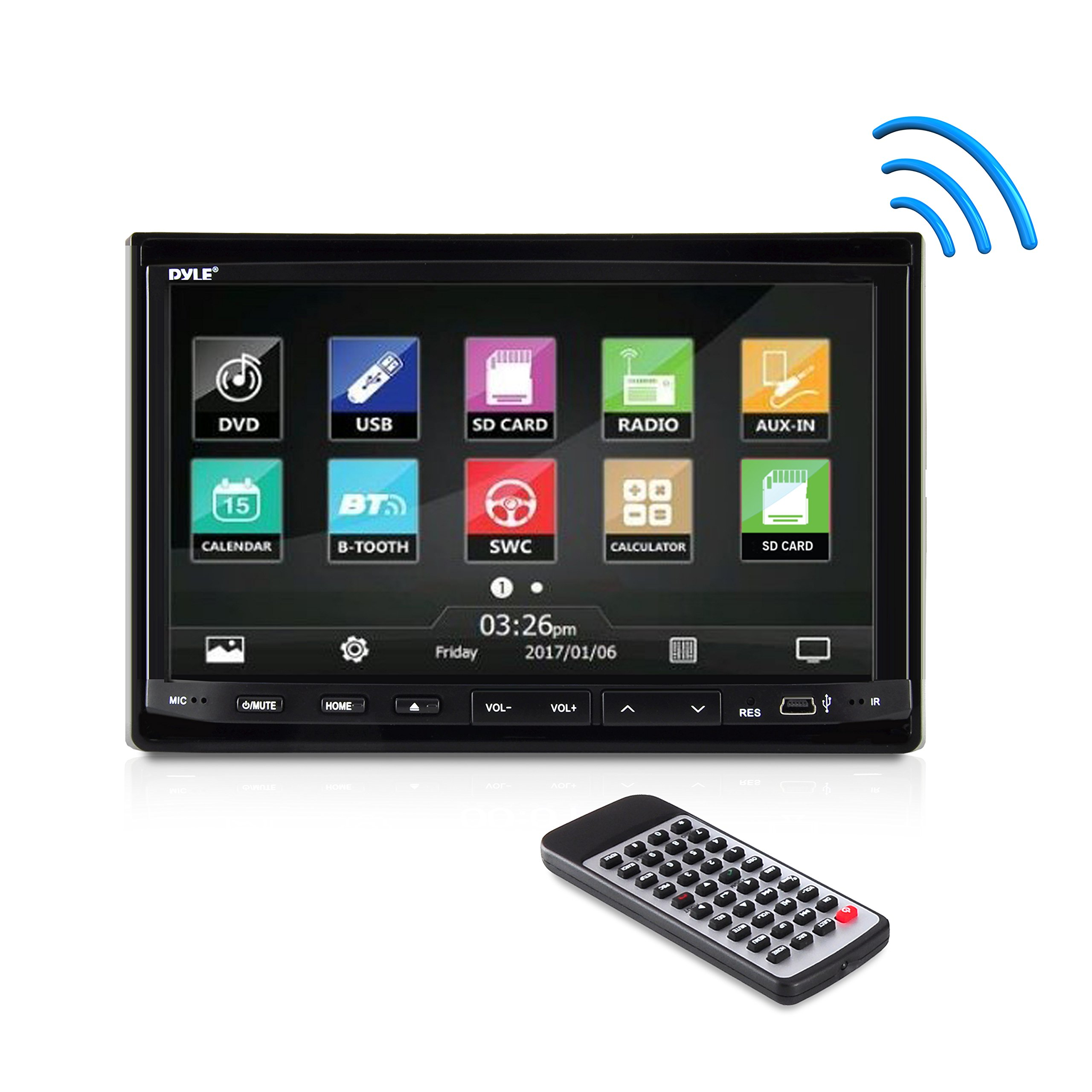 Pyle PLDN744 7-Inch Double Din In-Dash Motorized Slide-Down Touch Screen Car Stereo Receiver with Bluetooth, Disc/MP3/MP4 Player, AM/FM Radio, Microphone and SD Memory Card Reader