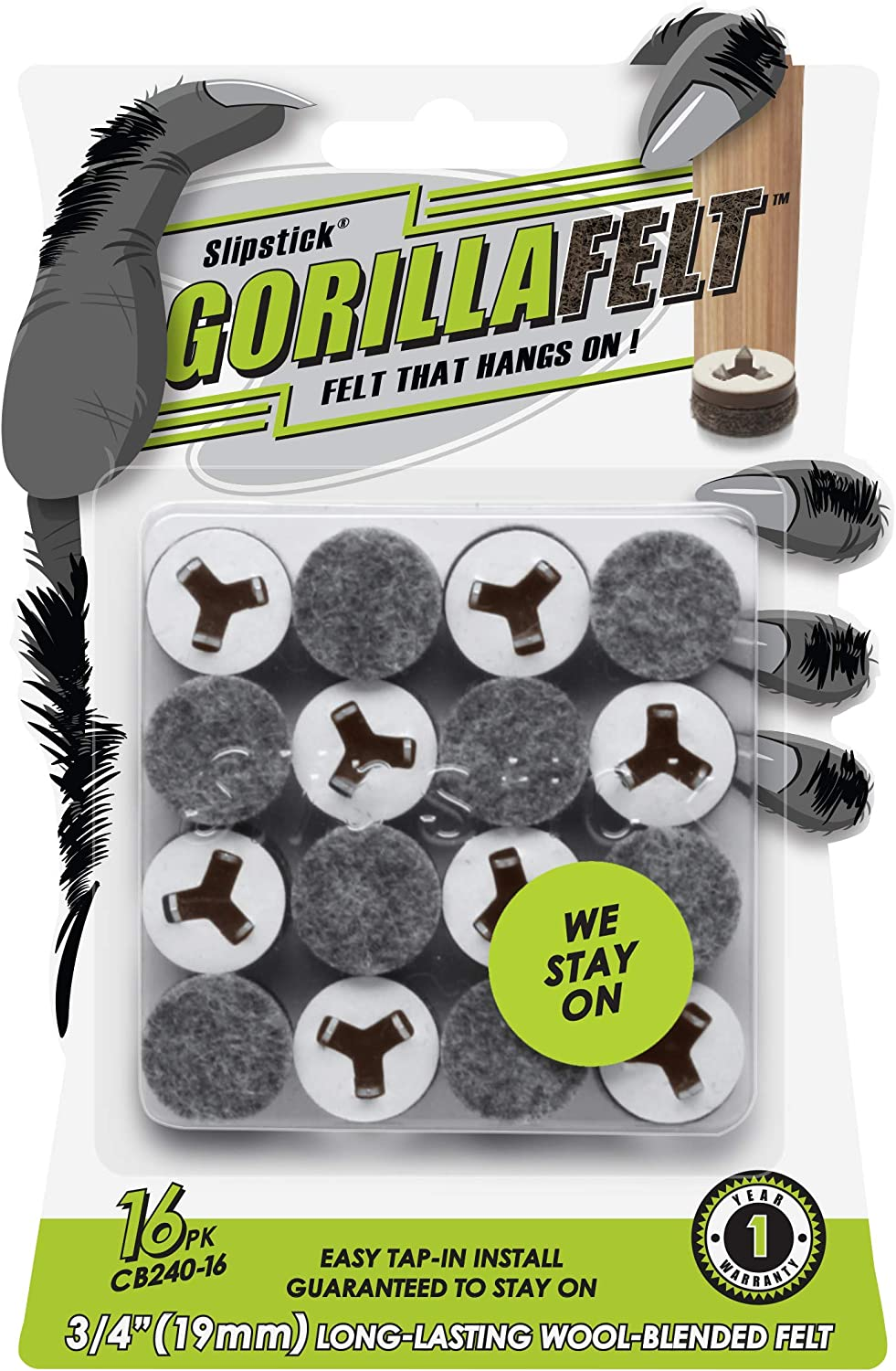 GorillaFelt ¾ Inch Chair Leg Floor Protectors/Felt Glides (Set of 16) Tap On Felt Furniture Pads Guaranteed to Stay On, Round Sliders, CB240-16