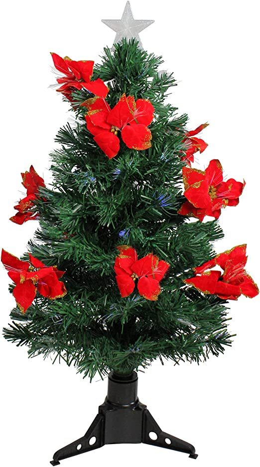 DAK Pre-Lit Fiber Optic Artificial Christmas Tree with Red Poinsettias and  Multicolored, 3\'