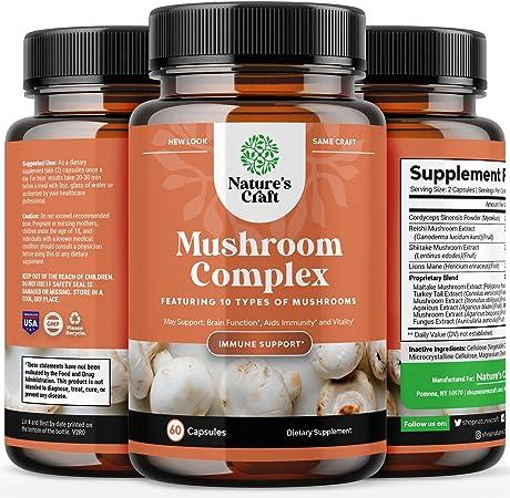 Nootropic Brain Focus Mushroom Supplement - Lions Mane Mushroom Complex and Reishi Mushroom Immune Support Adaptogen Blend - 10X Mushroom Blend for Natural Stress Relief Sugar Balance and Mental Focus