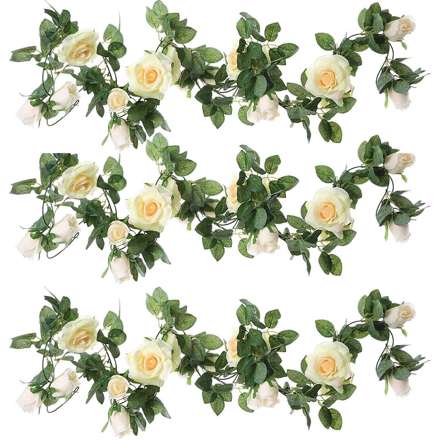 ZEROIN-3-Packs-Artificial-Flowers-Hanging-Plants-Silk-Flower-Garlands-Green-Plant-Home-Garden-Wall-Fence-Stairway-Outdoor-Wedding-Hanging-Baskets-Decor-Champagne