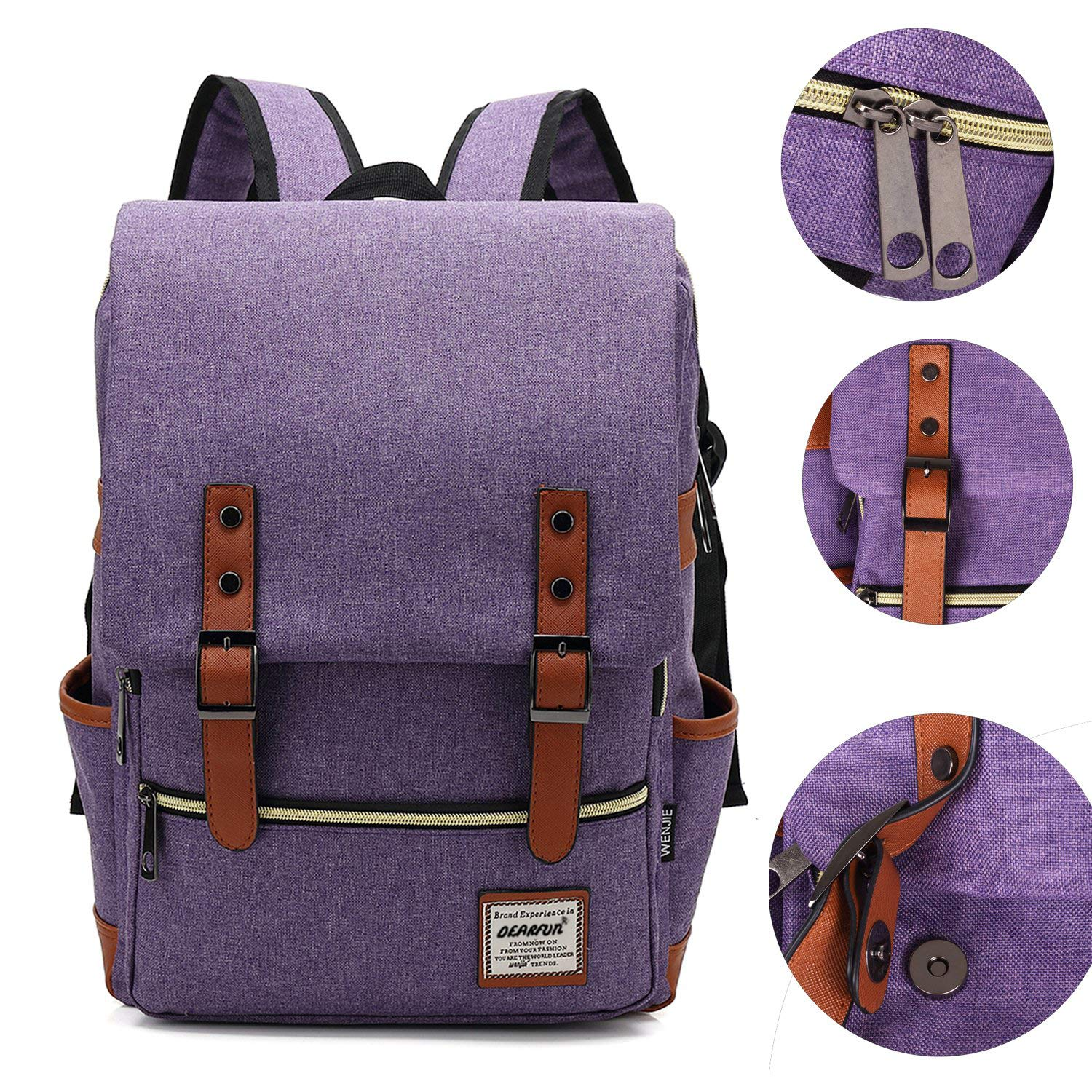 Purple Cool Style School Backpack Oxford Fabric Backpack for High School//College Student Elegant Casual Daypacks Outdoor Sports Rucksack School Shoulder Bag for Men//Women 15.6Inch MacBook by DEARFUN