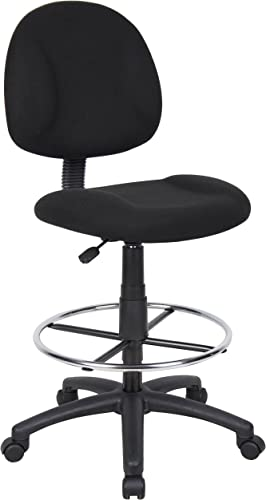 Boss Office Products B1615-BK Ergonomic Works Drafting Chair without Arms in Black Renewed