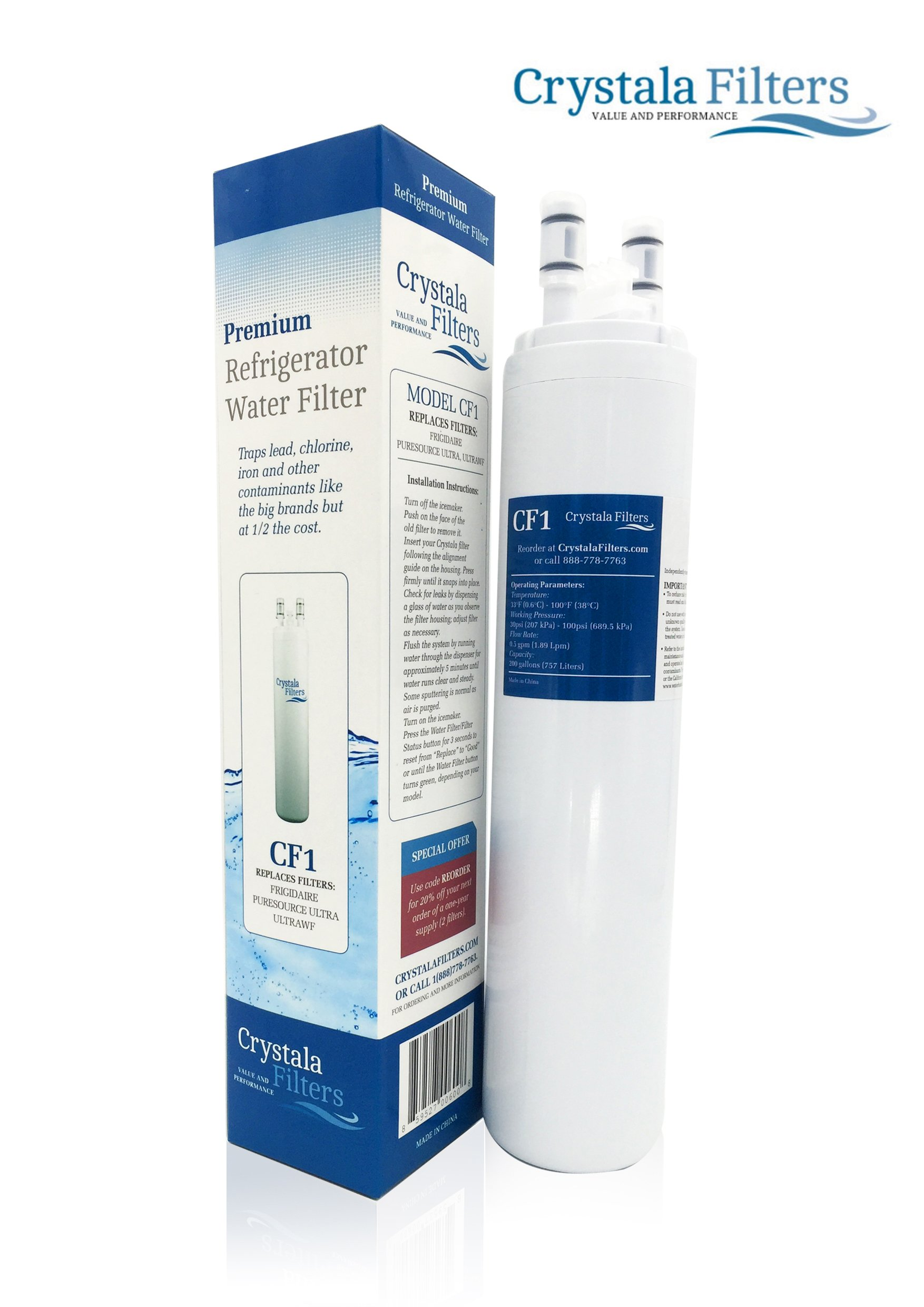 Crystala Filters Water Filter - Compatible Cartridge For ULTRAWF Frigidaire Refrigerators & Ice Makers - Compatible with Puresource, Gallery, Professional Series Fridge and Some Electrolux Models-1 PK