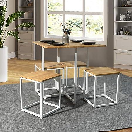 FURNISH 1 Juego de Comedor de 5 Piezas Mesa y taburetes Cuadrados, Juego de Mesa y sillas de Desayuno, Mesa de Oficina de Roble, Oficina en casa: Amazon.es: Hogar