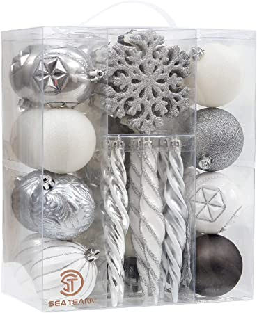 50 Pieces Assorted Baubles Silver White /& Blue