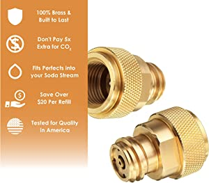 CO 2 Paintball Canister Adapter for Soda Maker Refills - 100% Brass - Refill Paintball Canisters for the Soda Stream Machine - Guaranteed for Quality