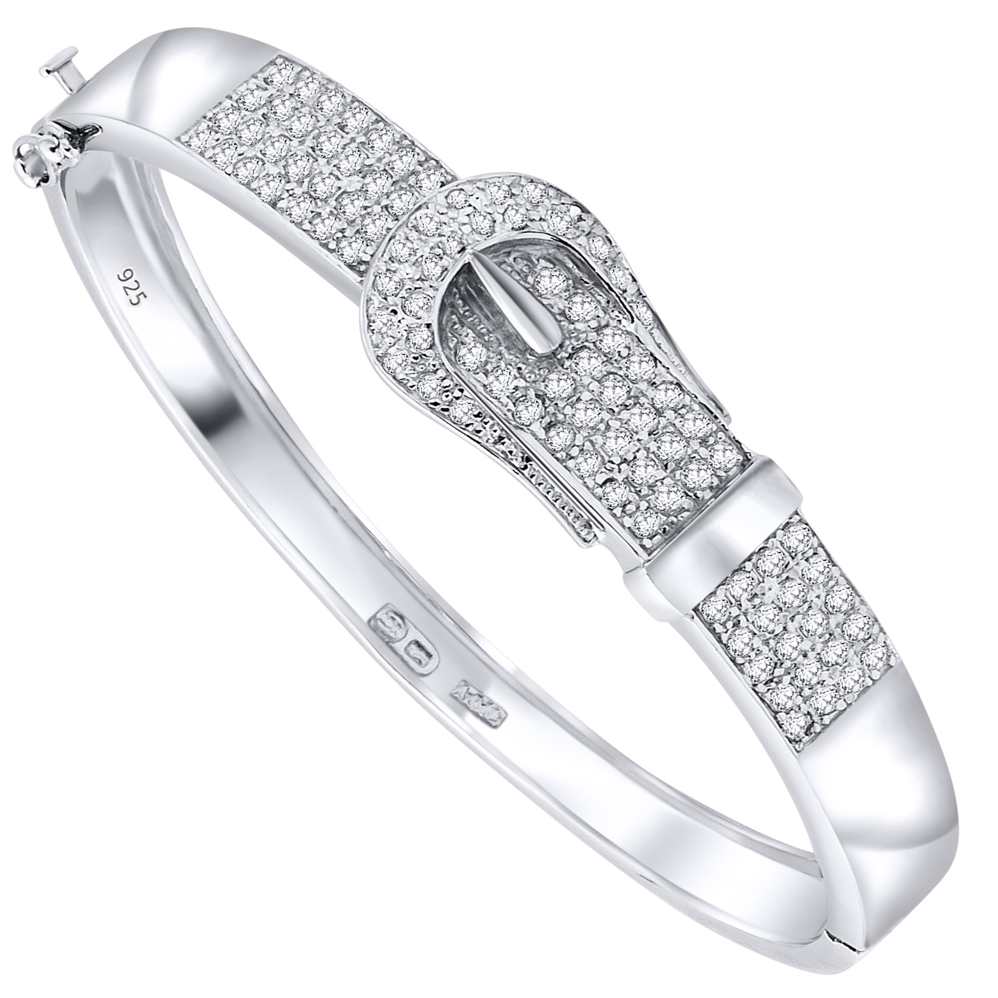 Women's Sterling Silver .925 Sterling Silver Buckle Style Large Bangle Bracelet with Cubic Zirconia Stones, Platinum Plated, 9'' By Sterling Manufacturers