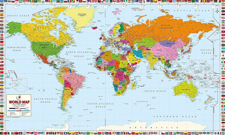 World Map Professional Edition - Laminated (78'' W x 47'' H)