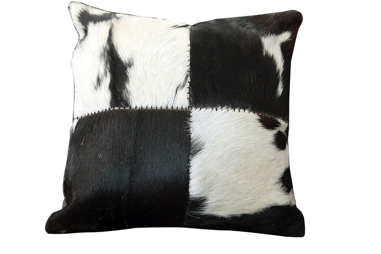 Sit Möbel 1028-11 Kissen This und That, 45 x 45 x 7 cm, Kuhfell mit Reißverschluß, Rückseite 100% Baumwolle, schwarz weiß