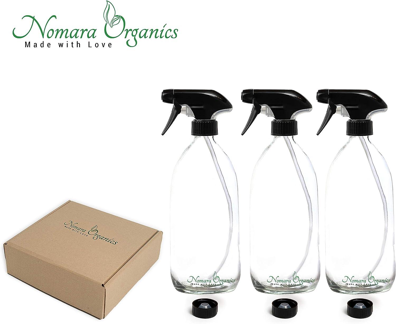 Nomara Organics Spr/ühflasche aus Glas transparent BPA-frei Ideal f/ür Geschenk//Bio-Beauty///ätherische /Öle//Reinigung//Haar. schwarzer Ausl/öser mit Strohhalm 3 x 500 ml nachf/üllbar