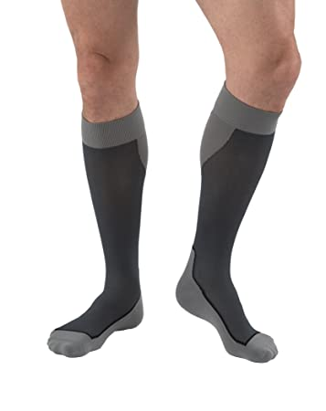 JOBST Sport Knee High 15-20 mmHg Compression Socks, Black/Grey, X