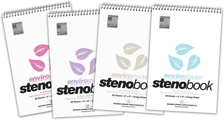 "Roaring Spring Enviroshades Recycled Spiral Steno Memo Book, 4 Pack, 6"" x 9"" 80 Sheets, Variety Pack"