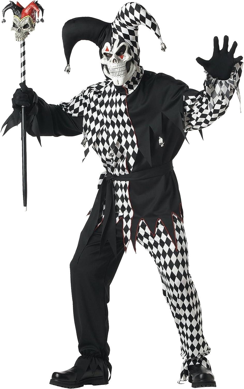 Disfraz De Bufón Malvado/Joker Blanco Negro Vestido Para Hombre ...