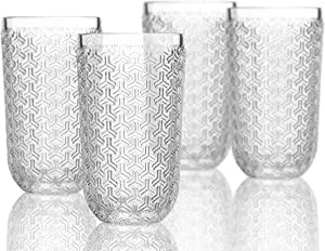 Elle Decor Bistro Key 4 Pc Set Highball, Clear-Glass Elegant Barware and Drinkware, Dishwasher Safe, 14 oz
