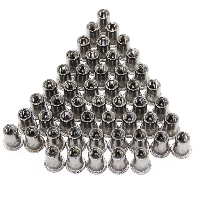 OCR Stainless Steel Rivet Nut Flat Head Threaded Rivet Nutsert Cap M6 50PCS(M6 Stainless Steel-50pcs)