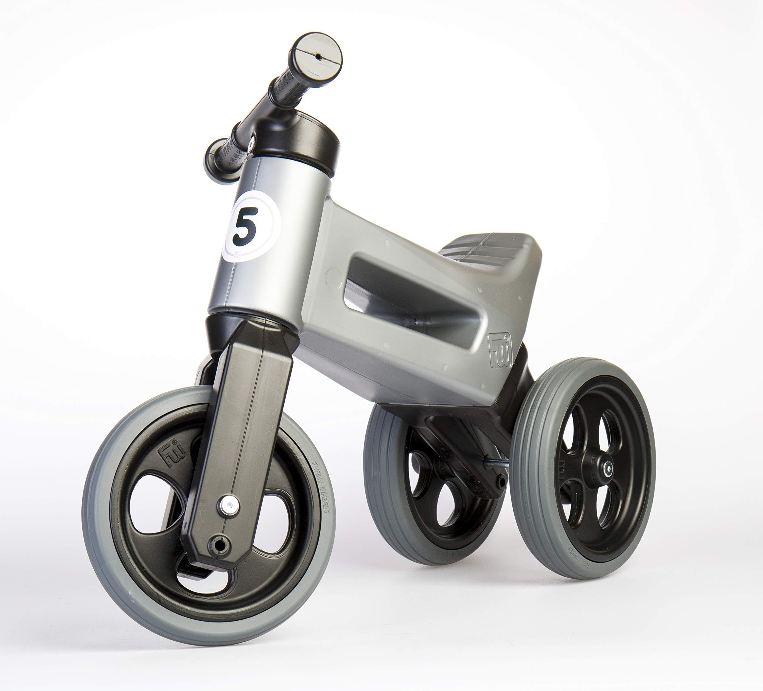 PlayMonster Free Wheelin' Rider Convertible Balance Bike, Silver/Gray