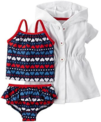 bf0297b830 Amazon.com  Carter s Baby Girls  4th of July 3-piece Swim Set  Clothing