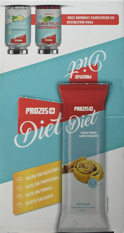 Prozis Diet Bar 12x35g - Delicioso Aperitivo Bollo de Canela - Rico en Proteína y Bajo en Hidratos de Carbono y Azúcares - Ideal para las Dietas de ...