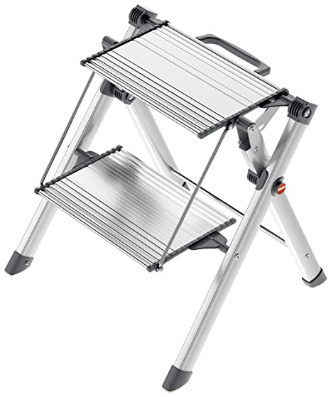 Terrific Hailo 4310 100 Mini Comfort Folding Stool With Built In Handle 2 Step Lightweight Aluminum Silver Gmtry Best Dining Table And Chair Ideas Images Gmtryco