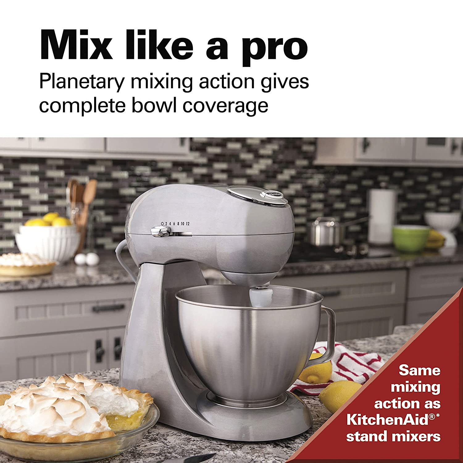 Hamilton Beach Eclectrics All-Metal 12-Speed Electric Stand Mixer, Tilt-Head, 4.5 Quarts, Pouring Shield, Sterling 63220