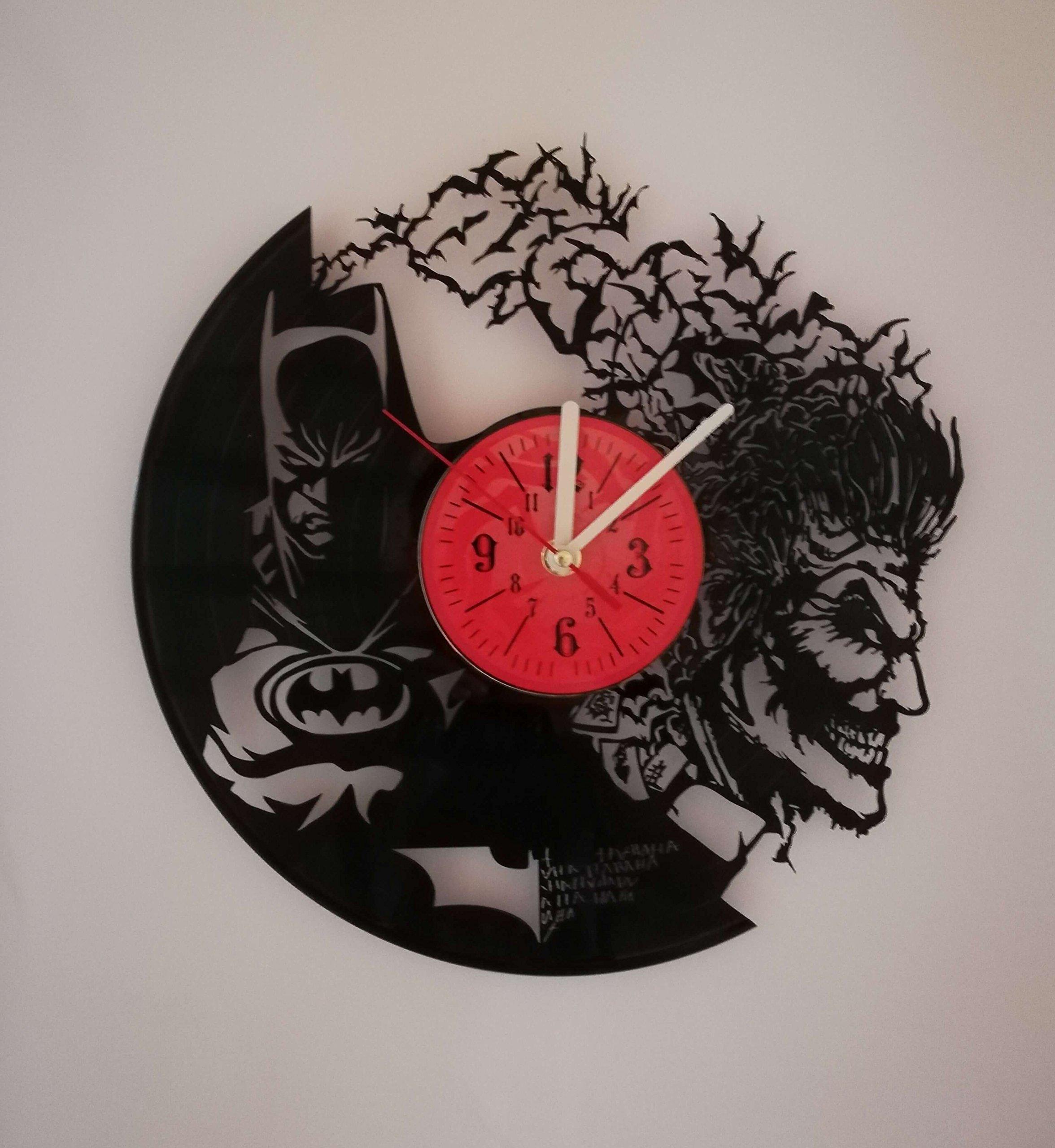 Dark Knight vs Joker 12 inches Vinyl Record Design Wall Clock - Batman Movie Characters - Get unique home room wall decor - Gift ideas for parents, teens – Epic Movie Unique Modern Art …