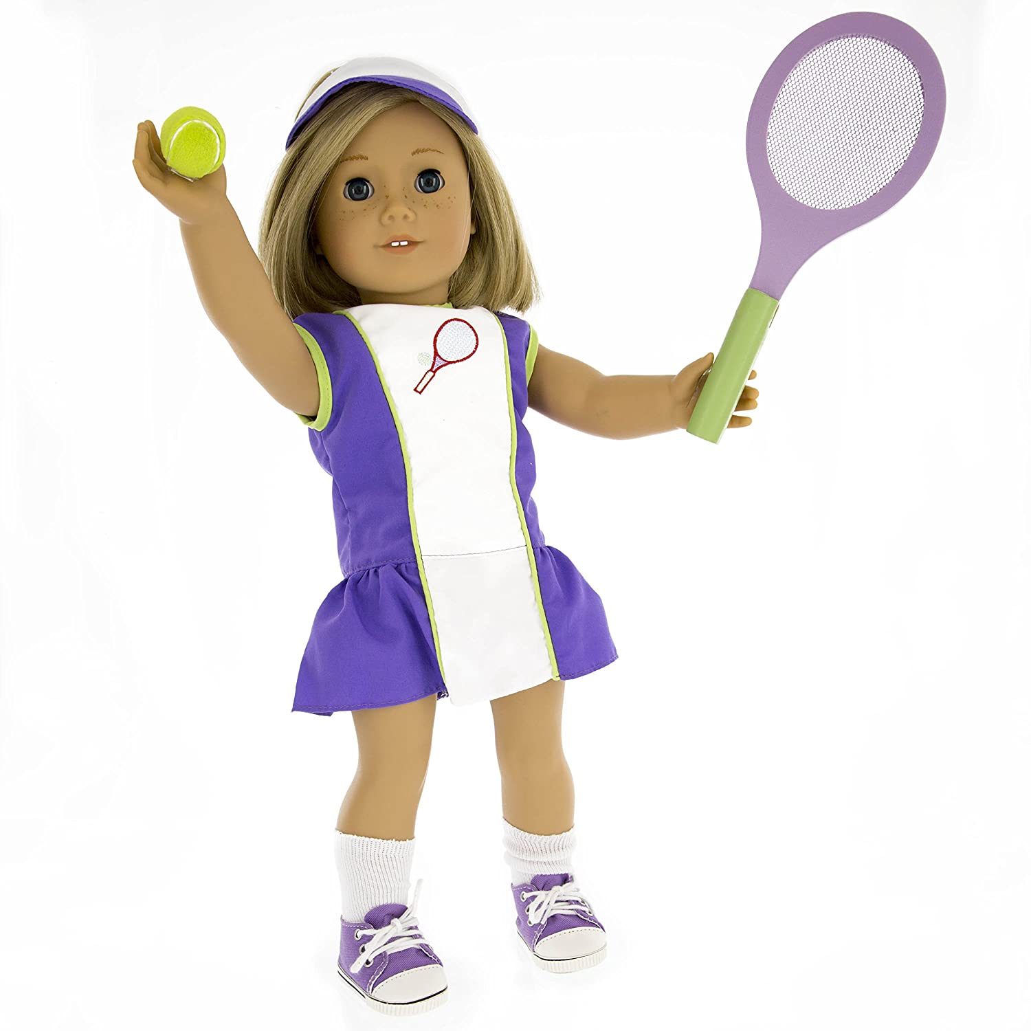 466afe0907e42 Tennis Outfit for American Girl Dolls: 6 Pc (Dress, Hat, Racket, Ball,  Socks and Shoes)