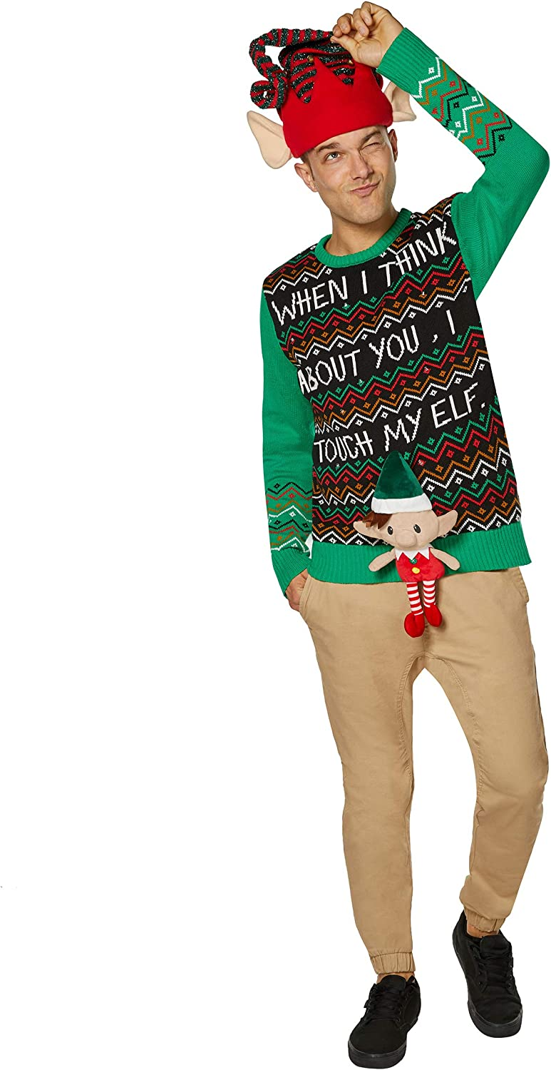 Spencers Unisex Light-Up Touch My Elf Ugly Christmas Sweater