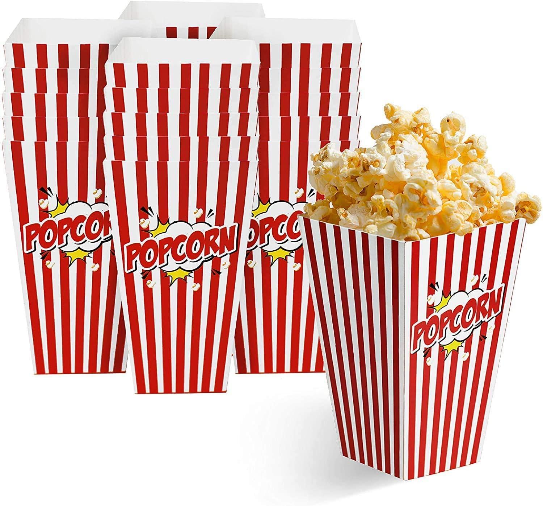 50 Bolsas Palomitas 18x10cm  Cajas de Palomitas, Popcorn Boxes - Cartones de Palomitas Retro  Cumpleaños, Película, Cine, Carnaval, Bodas, Bolsos de Fiesta Caramelos, Chuches, Decoracion.: Amazon.es: Hogar