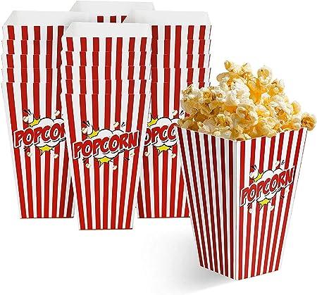 50 Bolsas Palomitas 18x10cm| Cajas de Palomitas, Popcorn Boxes - Cartones de Palomitas Retro| Cumpleaños, Película, Cine, Carnaval, Bodas, Bolsos de Fiesta Caramelos, Chuches, Decoracion.: Amazon.es: Hogar