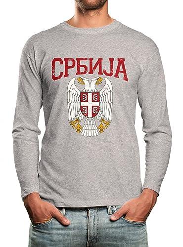 Shirt Happenz Serbien Wappen Premium Longsleeve Serbe Belgrad Balkan Unisex  Longsleeves: Amazon.de: Bekleidung