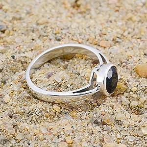 migliore selezione di nuove foto disponibilità nel Regno Unito pietre preziose vere anelli sfaccettati neri onice - argento ...