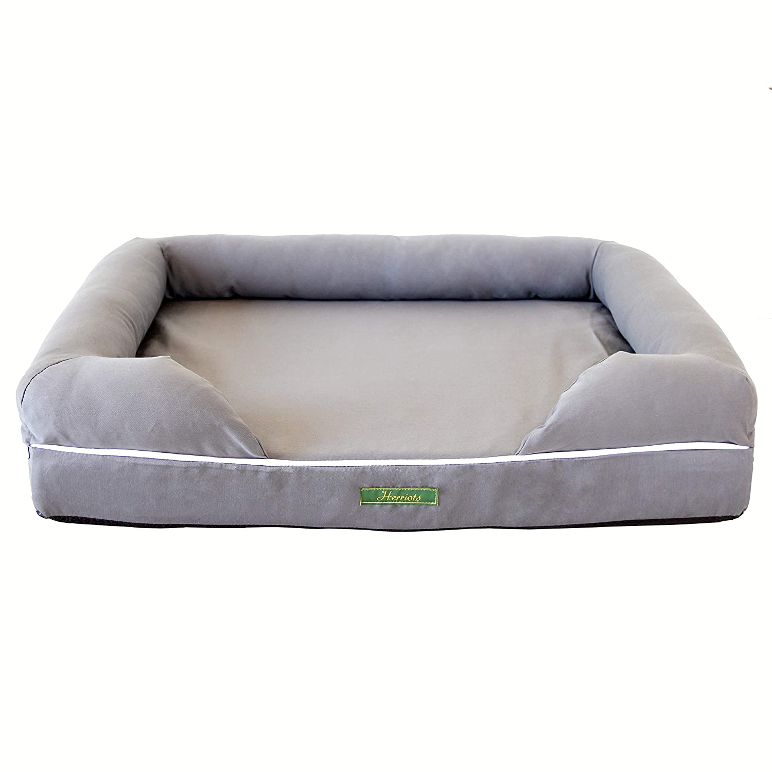 Herriots Memory Foam Dog Bed X-Large (112cm x 87cm x 26cm) Orthopaedic Mattress (GREY) Waterproof Spare Covers & Blankets Available