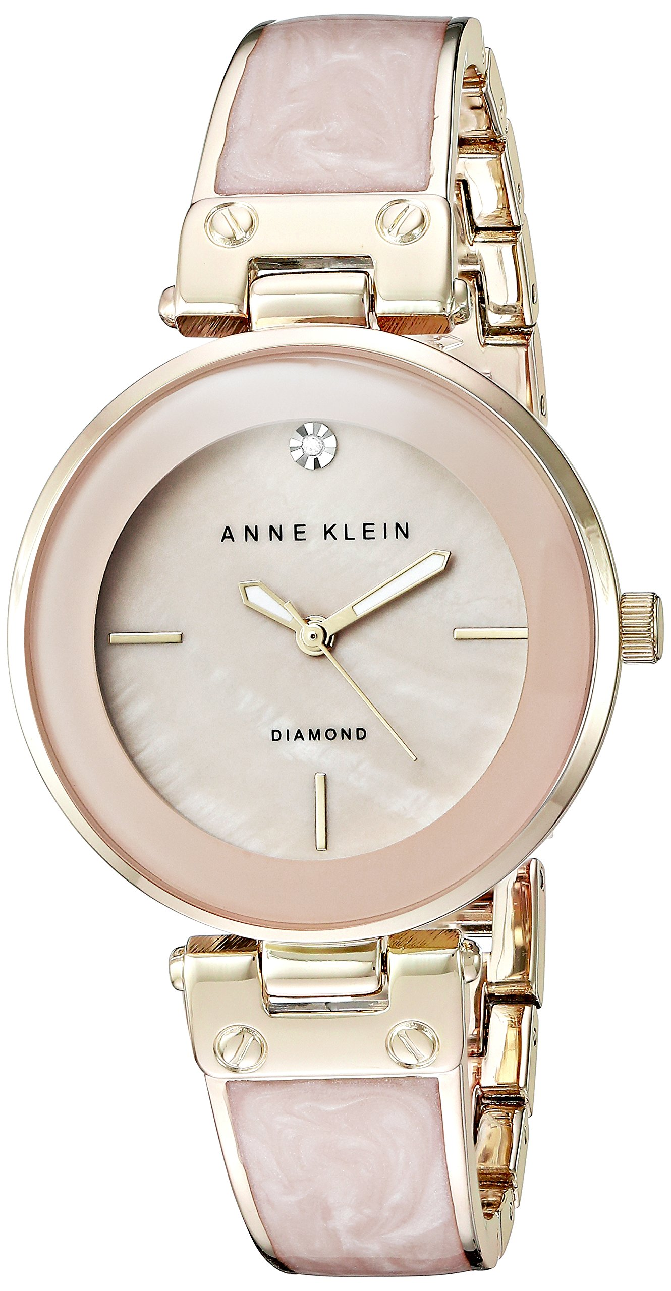 Anne Klein Women's AK/2512LPGB Diamond-Accented Gold-Tone and Blush Pink Marbleized Bangle Watch by Anne Klein