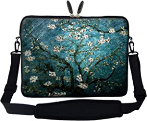 Meffort Inc 17 17.3 inch Neoprene Laptop Sleeve Bag Carrying Case with Hidden Handle and Adjustable Shoulder Strap - Vincent Van Gogh Almond Blossoming