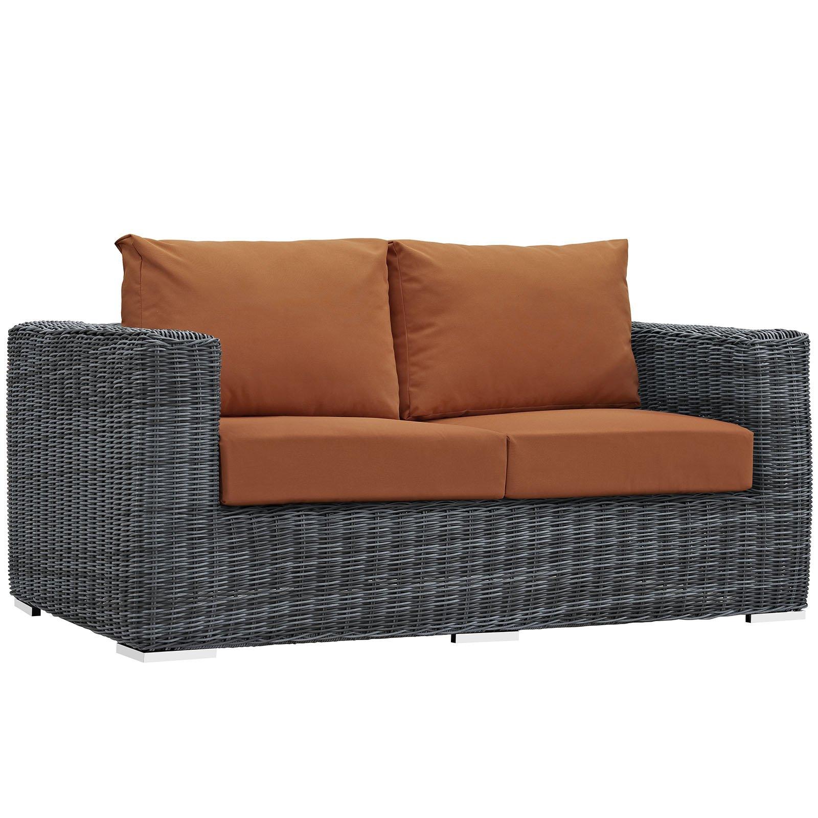 Modway Summon Outdoor Patio Loveseat With Sunbrella Brand Tuscan Orange Canvas Cushions