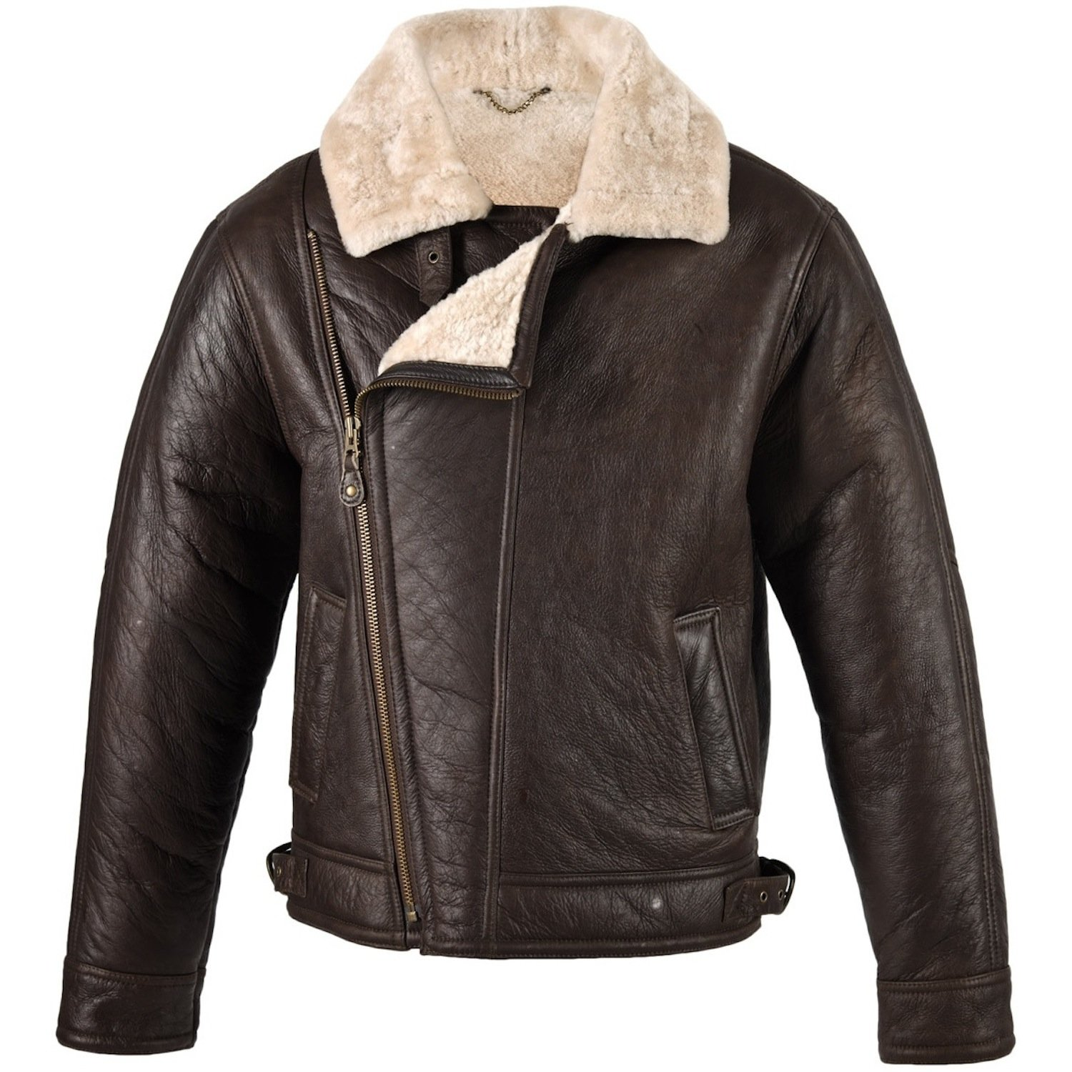 Mens Brown Leather Aviator Flying / Bomber Jacket with Sheepskin lining