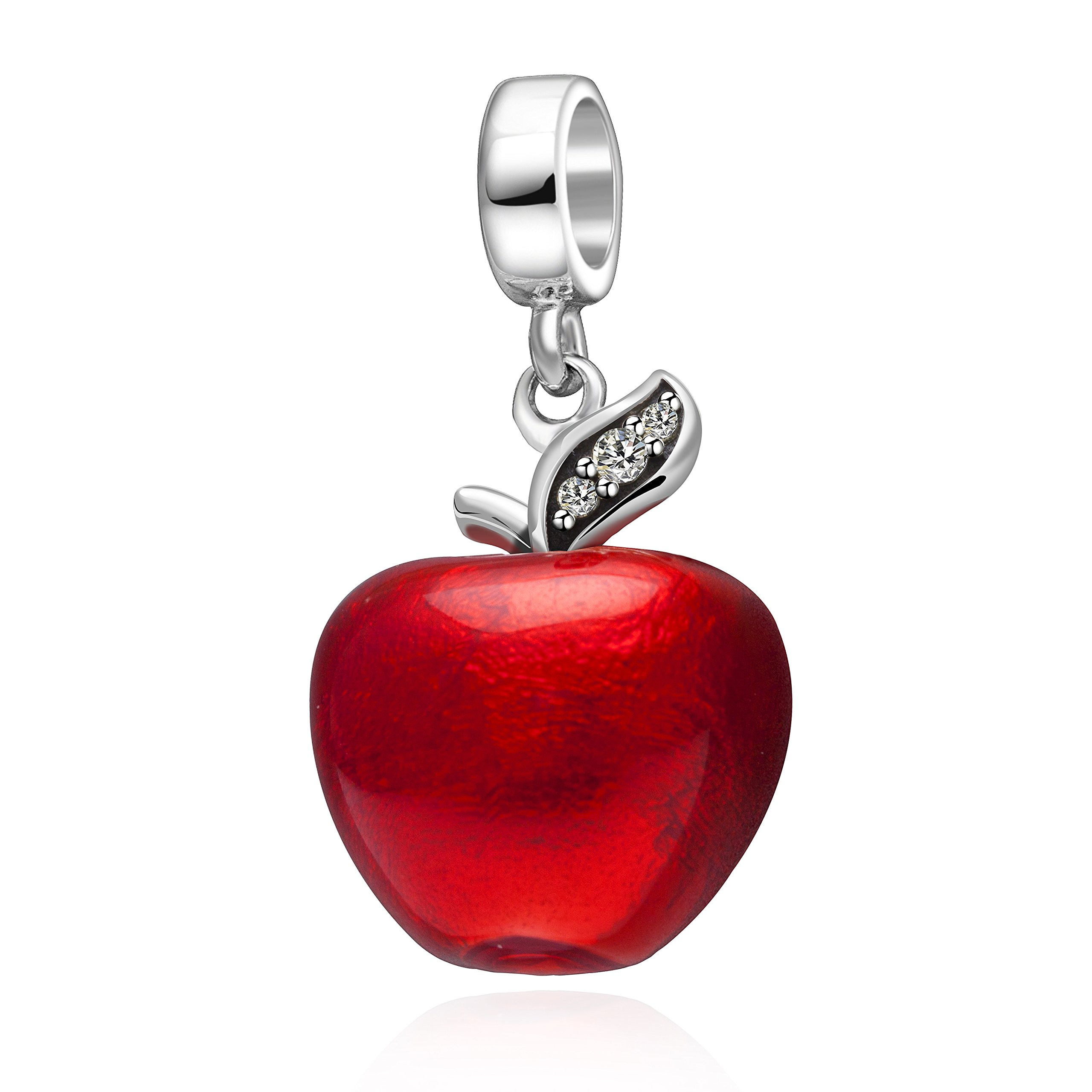 Christmas Apple Charms Authentic 925 Sterling Silver Red Apple Dangle Beads for Bracelet Necklace-Great Gift Ideal