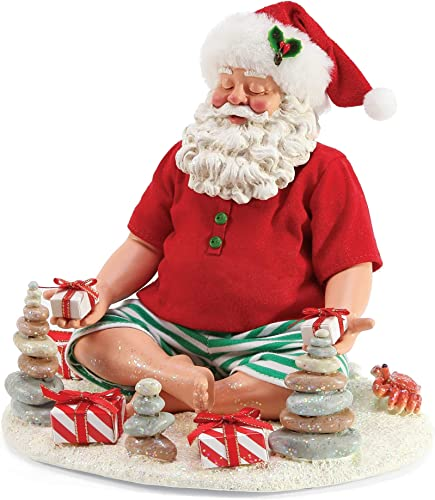 Department 56 Possible Dreams Santa by The Sea Beach Yoga Figurine, 8 Inch, Multicolor