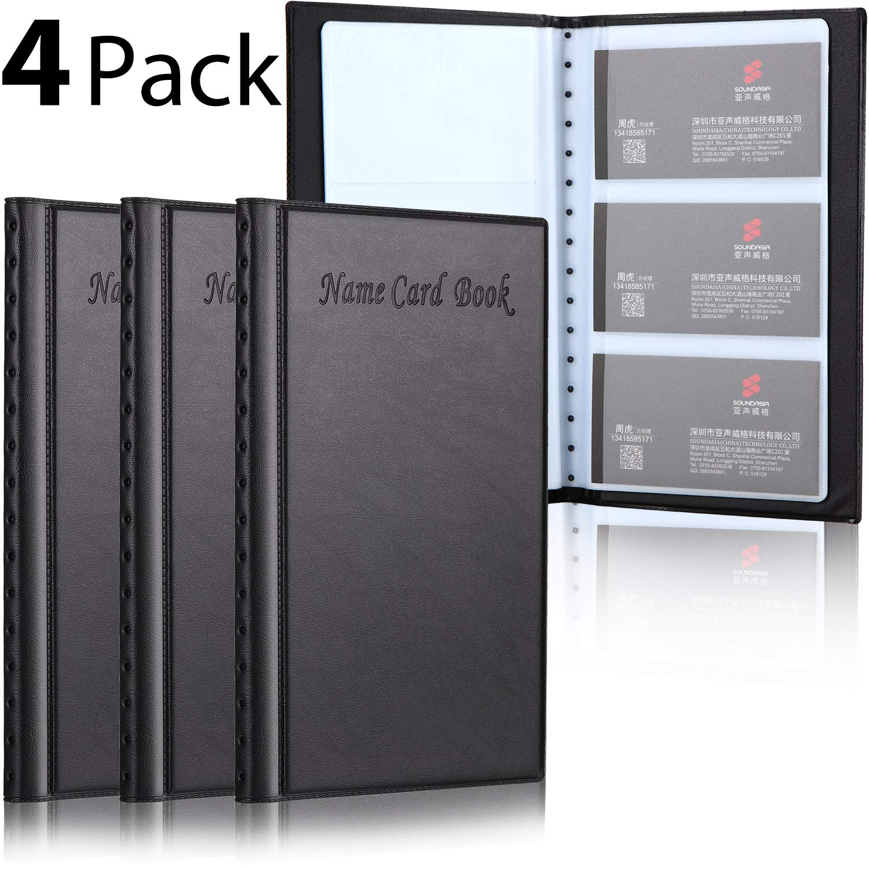 4 Pack Business Card Book Holder Name Card Organizer PU Leather Credit Card Organizer, 480 Storage Capacity Black Name Card Book Holder for Office Journal by Frienda