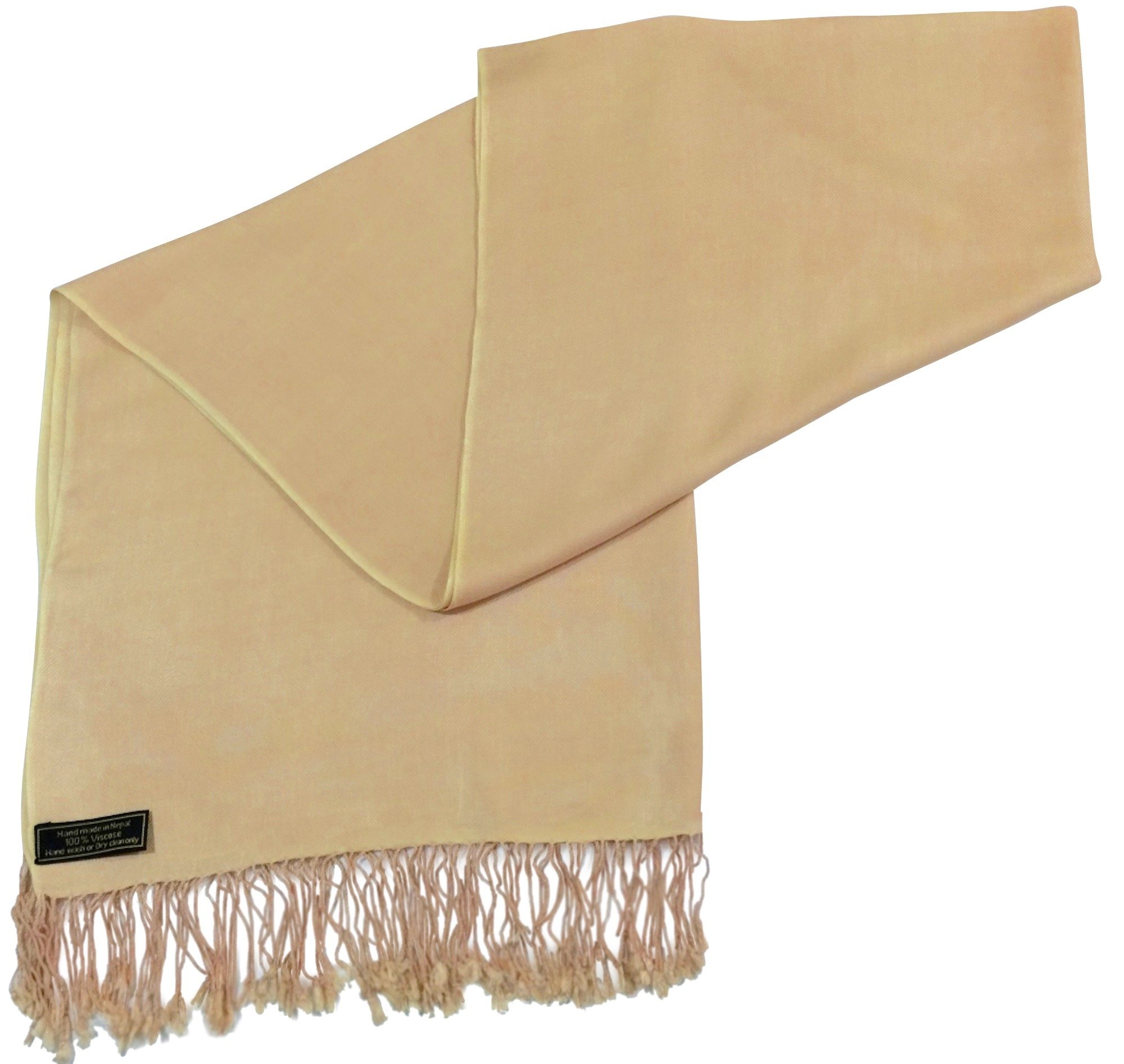 Champagne Solid Color Design Nepalese Shawl Scarf Wrap Pashminas CJ Apparel NEW