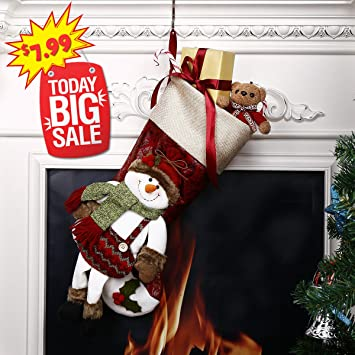 cyber monday deals christmas stockings happon 18 lovely 3d classic christmas stockings pretty decoration