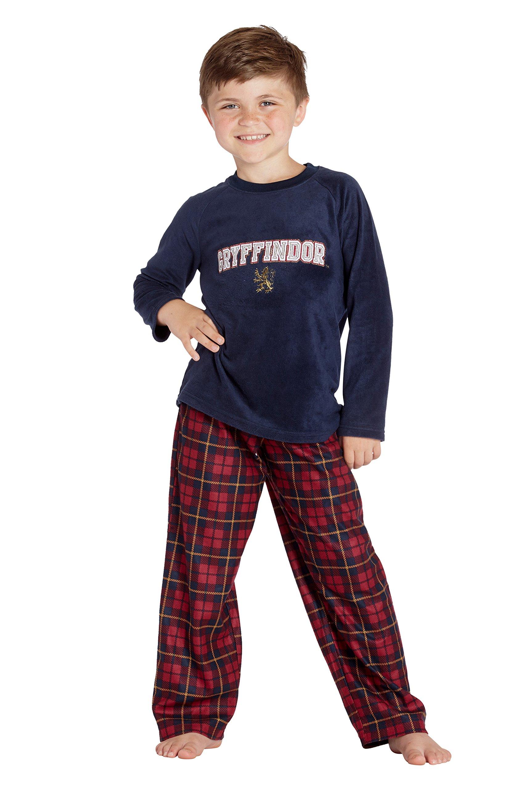Harry Potter 'Gryffindor Lion' Christmas Plush Holiday Pajama Set, Navy, 8